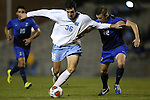28 November 2015: North Carolina's Tucker Hume (36) and Creighton's Eric DeJulio (22). The University of North Carolina Tar Heels hosted the Creighton University Bluejays at Fetzer Field in Chapel Hill, NC in a 2015 NCAA Division I Men's Soccer Tournament Third Round match. Creighton won the game 1-0.