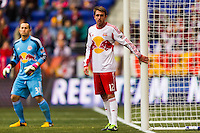 Eric Alexander (12) of the New York Red Bulls guards the near post. The New York Red Bulls and D. C. United played to a 0-0 tie during a Major League Soccer (MLS) match at Red Bull Arena in Harrison, NJ, on March 16, 2013.