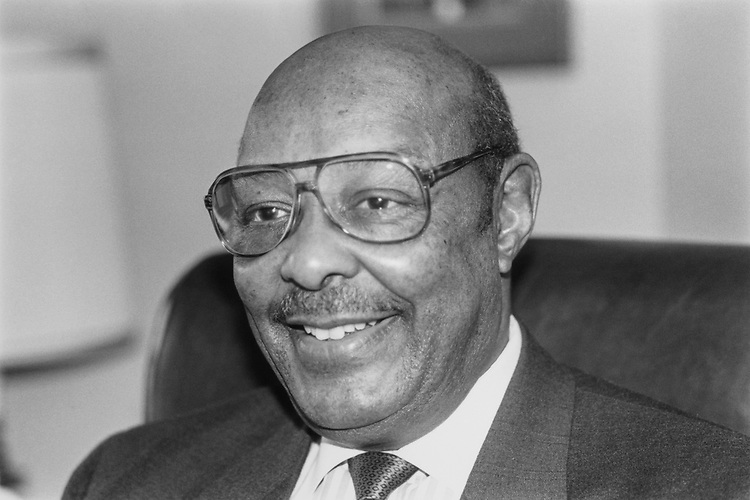 Close-up of Rep. Louis Stokes, D-Ohio, on March 18, 1993. (Photo by Laura Patterson/CQ Roll Call)