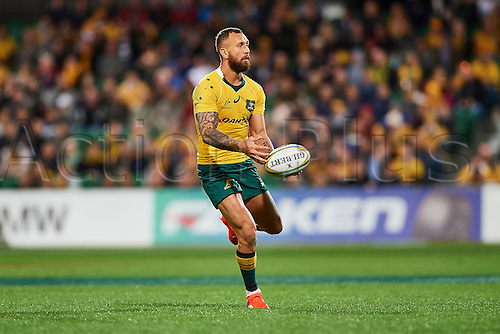 17.09.2016. Perth, Australia.  Quade Cooper of the Qantas Wallabies looks to pass the ball during the Rugby Championship test match between the Australian Qantas Wallabies and Argentina's Los Pumas from NIB Stadium - Saturday 17th September 2016 in Perth, Australia.