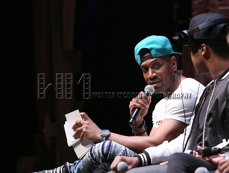 "Bryan Terrell Clark and J. Quinton Johnson from the 'Hamilton' cast during a Q & A before The Rockefeller Foundation and The Gilder Lehrman Institute of American History sponsored High School student #EduHam matinee performance of ""Hamilton"" at the Richard Rodgers Theatre on 5/10/2017 in New York City."