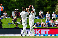 Colin De Grandhomme and Henry Nicholls of the Black Caps  celebrates the wicket of Dawid Malan of England during Day 4 of the Second International Cricket Test match, New Zealand V England, Hagley Oval, Christchurch, New Zealand, 2nd April 2018.Copyright photo: John Davidson / www.photosport.nz