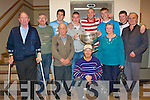 KERINS O'RAHILLYS: Strand Road supporter's and players enjoying the visit of Sam at their clubhouse on Friday pictured Richard Walsh, Pat Tuothy, *********, Carmel and Tommy O'Connor, Jimmy Donnelly, John Barry Walsh, Michae?l Quirke, Tommy Walsh, Paudie Hobbert and Pa McMahon.