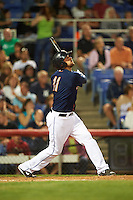 Binghamton Mets designated hitter Brock Peterson (11) at bat during a game against the Trenton Thunder on August 8, 2015 at NYSEG Stadium in Binghamton, New York.  Trenton defeated Binghamton 4-2.  (Mike Janes/Four Seam Images)