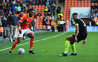 Blackpool's Liam Feeney under pressure from Macclesfield Town's Eddie Clarke<br /> <br /> Photographer Kevin Barnes/CameraSport<br /> <br /> The Carabao Cup First Round - Blackpool v Macclesfield Town - Tuesday 13th August 2019 - Bloomfield Road - Blackpool<br />  <br /> World Copyright © 2019 CameraSport. All rights reserved. 43 Linden Ave. Countesthorpe. Leicester. England. LE8 5PG - Tel: +44 (0) 116 277 4147 - admin@camerasport.com - www.camerasport.com