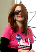 """Actress Julianne Moore smiles after she spoke at the """"March for Women's Lives"""" in Washington, DC on April 25, 2004..Credit: Ron Sachs / CNP"""