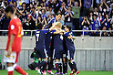 Japan team group (JPN),.JUNE 3, 2012 - Football / Soccer :.Ryoichi Maeda #18 (2nd R) of Japan celebrates with his teammates after scoring their second goal past goalkeeper Ali Al-Habsi of Oman during the 2014 FIFA World Cup Asian Qualifiers Final round Group B match between Japan 3-0 Oman at Saitama Stadium 2002 in Saitama, Japan. (Photo by Takahisa Hirano/AFLO)
