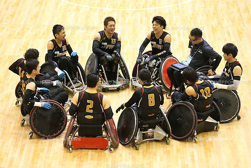 B/Japan team B group,<br /> OCTOBER 11, 2014 - Wheelchair Rugby : <br /> between Japan B 50-56 Canada A<br /> at Chiba Port Arena<br /> during 2014 Japan Para Championships<br /> in China, Japan. <br /> (Photo by Shingo Ito/AFLO SPORT)