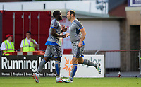 Lincoln City's John Akinde, left, is replaced by Lincoln City's Matt Rhead<br /> <br /> Photographer Chris Vaughan/CameraSport<br /> <br /> Football Pre-Season Friendly - Lincoln City v Stoke City - Wednesday July 24th 2019 - Sincil Bank - Lincoln<br /> <br /> World Copyright © 2019 CameraSport. All rights reserved. 43 Linden Ave. Countesthorpe. Leicester. England. LE8 5PG - Tel: +44 (0) 116 277 4147 - admin@camerasport.com - www.camerasport.com