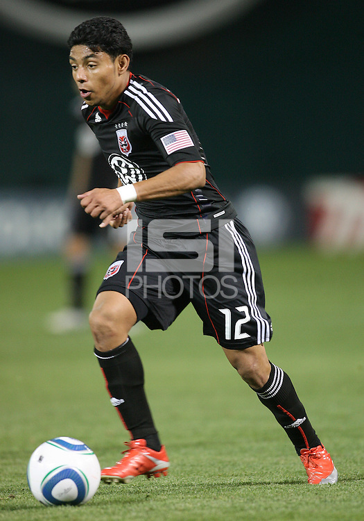 Cristian Castillo #12 of D.C. United during an MLS match against the Colorado Rapids on May 15 2010, at RFK Stadium in Washington D.C. Colorado won 1-0.