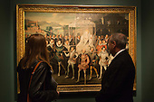 "Visitors look at the ""Procession Portrait of Queen Elizabeth"" by an Unknown Artist. Press preview of the exhibition ""Elizabeth I & Her People"" at the National Portrait Gallery which explores the remarkable reign of Elizabeth I through the lives and portraiture of her subjects. Exhibition runs from 10 October 2013 to 5 January 2014."