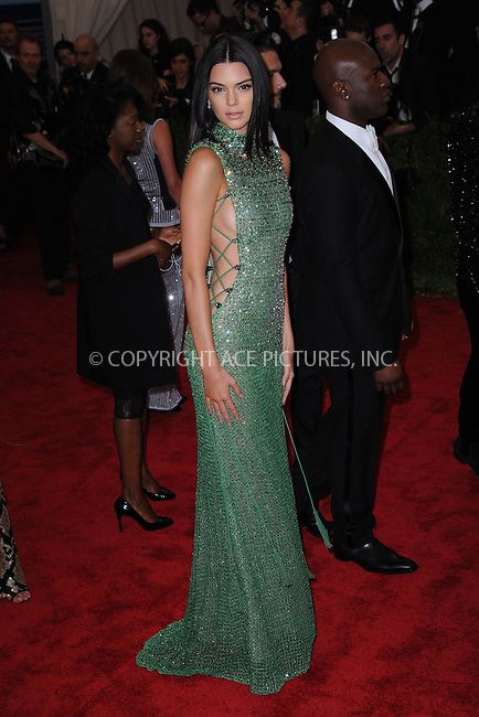 WWW.ACEPIXS.COM<br /> May 4, 2015...New York City<br /> <br /> Kendall Jenner attending the Costume Institute Benefit Gala  celebrating the opening of China: Through the Looking Glass at The Metropolitan Museum of Art on May 4, 2015 in New York City.<br /> <br /> Please byline: Kristin Callahan<br /> ACEPIXS.COM<br /> Tel# 646 769 0430<br /> e-mail: info@acepixs.com<br /> web: http://www.acepixs.com