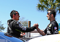 Mar 14, 2014; Gainesville, FL, USA; Vincent Nobile (right) with NHRA pro stock driver Shane Tucker during qualifying for the Gatornationals at Gainesville Raceway Mandatory Credit: Mark J. Rebilas-USA TODAY Sports