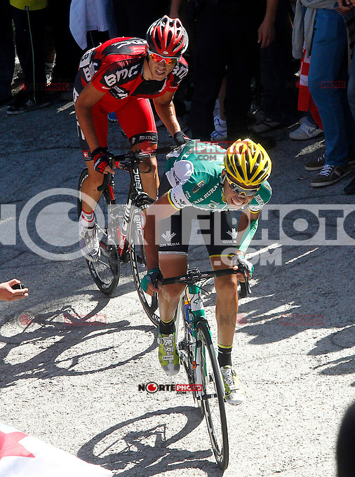 Andre Fernando Cardoso (r) and Philippe Gilbert during the stage of La Vuelta 2012 between Vilagarcia de Arousa and Mirador de Erazo (Dumbria).August 30,2012. (ALTERPHOTOS/Paola Otero) /NortePhoto.com<br />