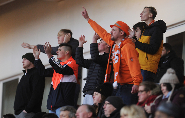 Blackpool fans watch their team in action <br /> <br /> Photographer Kevin Barnes/CameraSport<br /> <br /> The EFL Sky Bet League One - Blackpool v Walsall - Saturday 9th February 2019 - Bloomfield Road - Blackpool<br /> <br /> World Copyright © 2019 CameraSport. All rights reserved. 43 Linden Ave. Countesthorpe. Leicester. England. LE8 5PG - Tel: +44 (0) 116 277 4147 - admin@camerasport.com - www.camerasport.com