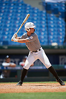 Ty Hodge (3) of College Station High School in College Station, TX during the Perfect Game National Showcase at Hoover Metropolitan Stadium on June 18, 2020 in Hoover, Alabama. (Mike Janes/Four Seam Images)