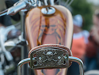 NWA Democrat-Gazette/ANTHONY REYES &bull; @NWATONYR<br /> A skull detail on the back of a passenger backrest on a cutom motorcycle Tuesday, Sept. 22, 2015 on display at the unofficial kickoff for the Bikes, Blues and BBQ rally at Jose&rsquo;s Southwest Grill in Springdale. The event featured hundreds of motorcyclists, live music, a &quot;Bike of the Year&quot; contest and a motorcycle give away.