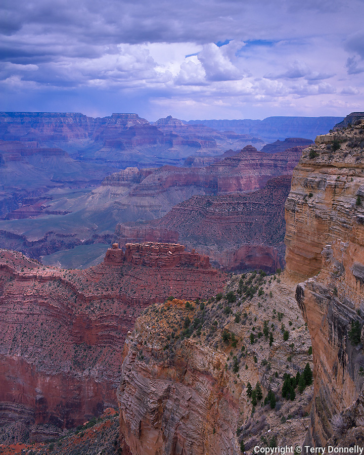 Grand Canyon National Park, AZ   <br /> View of the Battleship butte and Grand Canyon under approaching storm clouds - from Hopi Point