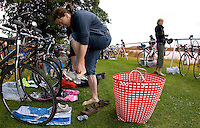 20 JUL 2008 - MANLEY, UK - A competitor prepares in transition for the race - Deva Divas Triathlon. (PHOTO (C) NIGEL FARROW)