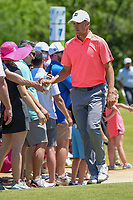 Jordan Spieth (USA) high fives fans on his way to the tee on 8 during round 4 of the AT&T Byron Nelson, Trinity Forest Golf Club, Dallas, Texas, USA. 5/12/2019.<br /> Picture: Golffile   Ken Murray<br /> <br /> <br /> All photo usage must carry mandatory copyright credit (© Golffile   Ken Murray)