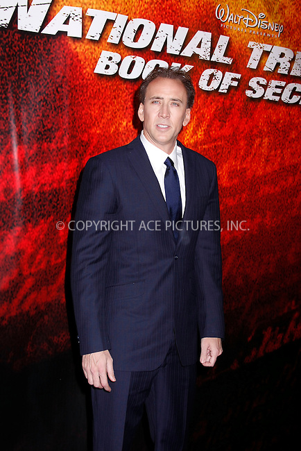 WWW.ACEPIXS.COM . . . . .  ....December 13, 2007. New York City.....Actor Nicolas Cage arrives at the New York Premiere of 'National Treasure Book of Secrets' at the Ziegfeld Theatre.......Please byline: AJ Sokalner - ACEPIXS.COM.... *** ***..Ace Pictures, Inc:  ..Philip Vaughan (646) 769 0430..e-mail: info@acepixs.com..web: http://www.acepixs.com