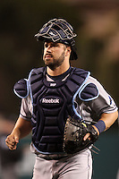 Tampa Bay Rays catcher Kelly Shoppach #10 during a game against the Los Angeles Angels at Angel Stadium on June 18, 2011 in Anaheim,California. (Larry Goren/Four Seam Images)