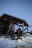 USA, Utah, Park City, bronze sculptures of skiers at the Utah Olympic Park