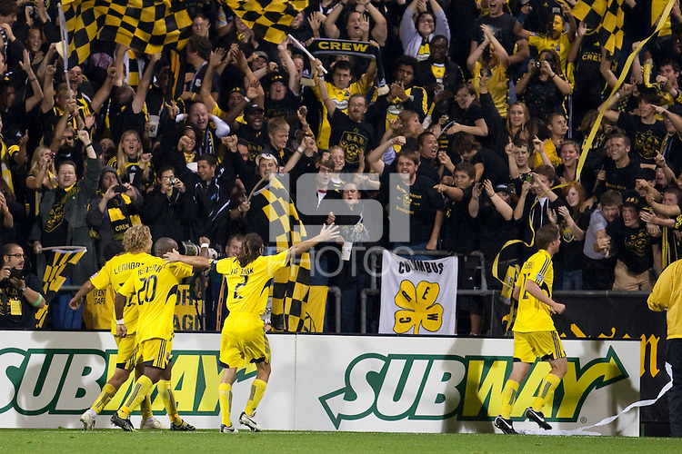 26 SEPTEMBAR 2009:  Steven Lenhart,  Emilio Renteria and Frankie Hejduk of the Columbus Crew celebrate Steven Lenhart's second half goal the Los Angeles Galaxy at Columbus Crew MLS game in Columbus, Ohio on May 27, 2009.