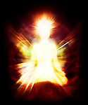 Glowing human energy body with Qi energy emanations. Woman sitting in meditation lotus pose. Human as a beautiful luminous being, aura, spiritual enlightenment concept
