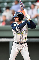 Center fielder Quinn Brodey (2) of the Columbia Fireflies bats in a game against the Greenville Drive on Wednesday, April 18, 2018, at Fluor Field at the West End in Greenville, South Carolina. Columbia won 8-4. (Tom Priddy/Four Seam Images)