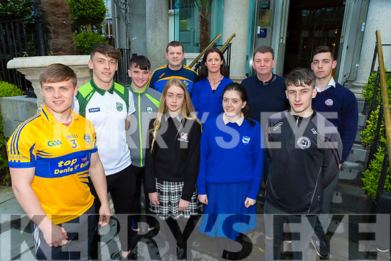 Darragh Roche and David Clifford with l-r front row Lee O'Donoghue, Caoimhe Crowley, Aoife Keliher, Chris O'Donoghue, Back row Derry Healy, Maria Browne,Kieran O'Callaghan and Oran O'Donoghue launching Looking After Me Glenflesk GAA night on Youth their Strengths and Abilities