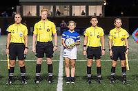 Allston, MA - Wednesday Aug. 31, 2016: Referees Amanda Ross, Ian McKay, Jasmine Peralta, Jennifer Garner prior to a regular season National Women's Soccer League (NWSL) match between the Boston Breakers and the Houston Dash at Jordan Field.