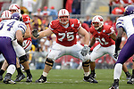 MADISON, WI - SEPTEMBER 9: Offensive lineman Andy Kemp #75 of the Wisconsin Badgers prepares to block against the Western Illinois Leathernecks at Camp Randall Stadium on September 9, 2006 in Madison, Wisconsin. The Badgers beat the Leathernecks 34-10. (Photo by David Stluka)