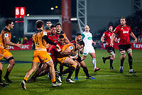 Crusaders' Sevu Reece tackles Jaguares' Emiliano Boffelli during the 2019 Super Rugby final between the Crusaders and Jaguares at Orangetheory Stadium in Christchurch, New Zealand on Saturday, 6 July 2019. Photo: Joe Johnson / lintottphoto.co.nz