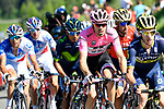 The chase group including Adam Yates (GBR) Orica-Scott, race leader Tom Dumoulin (NED) Team Sunweb, Nairo Quintana (COL) Movistar, Vincenzo Nibali (ITA) Bahrain-Merida and Thibaut Pinot (FRA) FDJ near the end of Stage 18 of the 100th edition of the Giro d'Italia 2017, running 137km from Moena to Ortisei/St. Ulrich, Italy. 25th May 2017.<br /> Picture: LaPresse/Fabio Ferrari   Cyclefile<br /> <br /> <br /> All photos usage must carry mandatory copyright credit (&copy; Cyclefile   LaPresse/Fabio Ferrari)