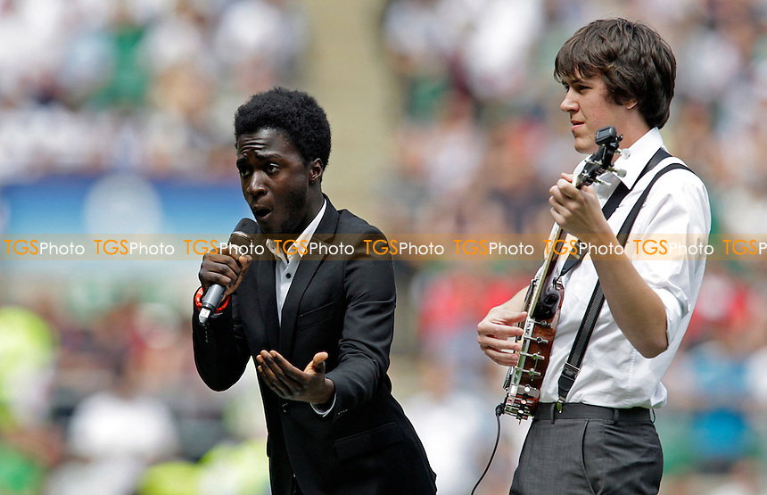 Pre match entertainment from Kwabena(L) and Lester J Allen(R) - England vs Wales - International Rugby at Twickenham Stadium (2011 World Cup warm-up) - 06/08/11 - MANDATORY CREDIT: Helen Watson/TGSPHOTO - Self billing applies where appropriate - 0845 094 6026 - contact@tgsphoto.co.uk - NO UNPAID USE.