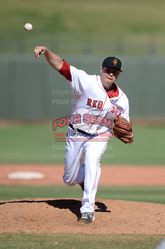 Surprise Saguaros pitcher Pete Ruiz (44), of the Boston Red Sox organization, during an Arizona Fall League game against the Scottsdale Scorpions on October 17, 2013 at Surprise Stadium in Surprise, Arizona.  Surprise defeated Scottsdale 10-5.  (Mike Janes/Four Seam Images)