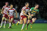James Hook of Gloucester Rugby in possession. Aviva Premiership match, between Northampton Saints and Gloucester Rugby on November 27, 2015 at Franklin's Gardens in Northampton, England. Photo by: Patrick Khachfe / JMP