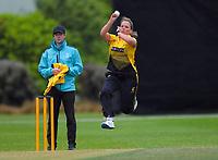Wellington's Jess Kerr bowls during the women's Hallyburton Johnstone Shield cricket match between the Wellington Blaze and Central Hinds at Karori Park in Wellington, New Zealand on Sunday, 1 December 2019. Photo: Dave Lintott / lintottphoto.co.nz