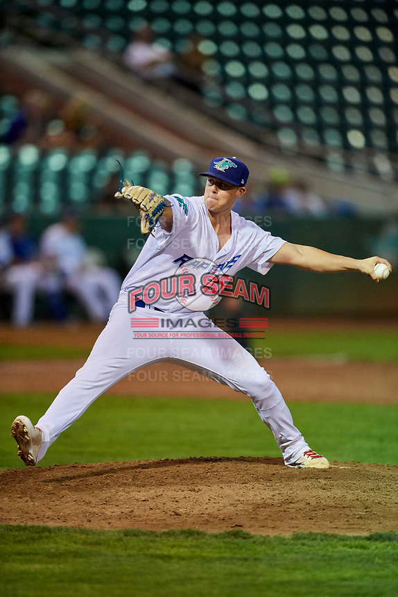 Justin Bruihl (45) of the Ogden Raptors delivers a pitch during a game against the Grand Junction Rockies at Lindquist Field on September 7, 2018 in Ogden, Utah. The Rockies defeated the Raptors 8-5. (Stephen Smith/Four Seam Images)