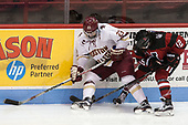 Andie Anastos (BC - 23), Paige Capistran (NU - 12) - The Boston College Eagles defeated the Northeastern University Huskies 2-1 to win the Beanpot on Monday, February 7, 2017, at Matthews Arena in Boston, Massachusetts.