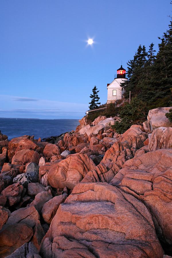 Bass Harbor Light overlooking the Atlantic Ocean, Bass Harbor, Acadia National Park, Hancock County, Maine, USA