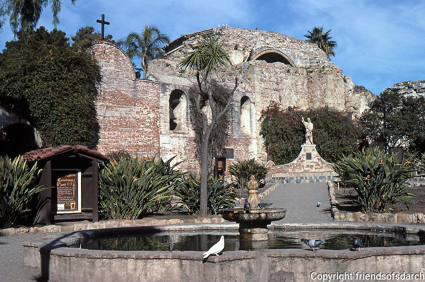 San Juan Capistrano Mission, one of 21 missions in California. Known for the home of swallow. Photo, 1987.