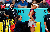 Caroline Wozniacki of Denmark reacts in her match against Alize Cornet of France during day three of the Mutua Madrid Open at La Caja Magica on May 05, 2019 in Madrid, Spain. /NortePhoto.com