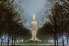November 30, 2018; God Quad on a foggy evening (Photo by Matt Cashore)