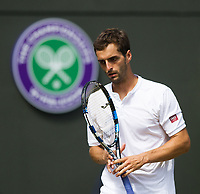 Albert Ramos-Vinolas of Spain in action during his defeat to Milos Raonic (6) of Canada in their Men's Singles Third Round Match today - Raonic def Ramos-Vinolas 7-6, 6-4, 7-5<br /> <br /> Photographer Ashley Western/CameraSport<br /> <br /> Wimbledon Lawn Tennis Championships - Day 6 - Saturday 8th July 2017 -  All England Lawn Tennis and Croquet Club - Wimbledon - London - England<br /> <br /> World Copyright &not;&uml;&not;&copy; 2017 CameraSport. All rights reserved. 43 Linden Ave. Countesthorpe. Leicester. England. LE8 5PG - Tel: +44 (0) 116 277 4147 - admin@camerasport.com - www.camerasport.com