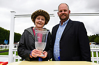 Connections of Red Dragon receive their trophy for winning the  Dartmouth General Contractors Ltd Handicap (Div 1),  during Afternoon Racing at Salisbury Racecourse on 7th August 2017