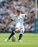 Freddie Burns of England takes a conversion attempt during the match between England and Barbarians at Twickenham on Sunday 26th May 2013 (Photo by Rob Munro)