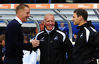 Birmingham City manager Garry Monk greets Swansea City assistant coach Alan Curtis during the Sky Bet Championship match between Birmingham City and Swansea City at St Andrew's Trillion Trophy Stadium on August 17, 2018 in Birmingham, England.