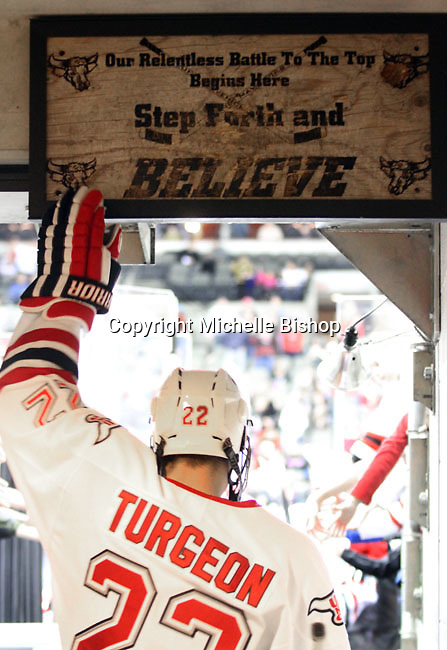 UNO's Tony Turgeon heads to the ice for the final period of Friday night's game. UNO beat St. Cloud State 3-0 Friday night at Qwest Center Omaha.  (Photo by Michelle Bishop)
